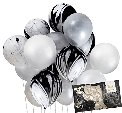 Modern Black and Silver Marble Decoration Agate Mix Latex Party Balloons 30pc Thickened 12