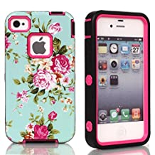 iPhone 5s case,iphone 5 case,Lantier Flowers Pattern [ 3 in 1 Shield Series ] Hybrid Case with Soft Silicone Inner and Hard PC Outer Cover Case for Apple iPhone 5/5s Hot Pink