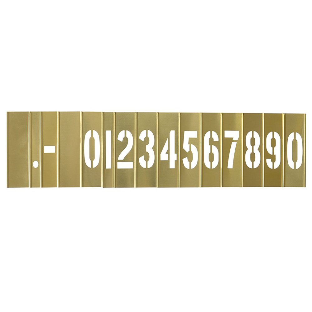 Deezio Curb Stencil Kit for Address Painting, 4 inch Brass Interlocking Numbers Stencils - 15 Piece Set by Deezio