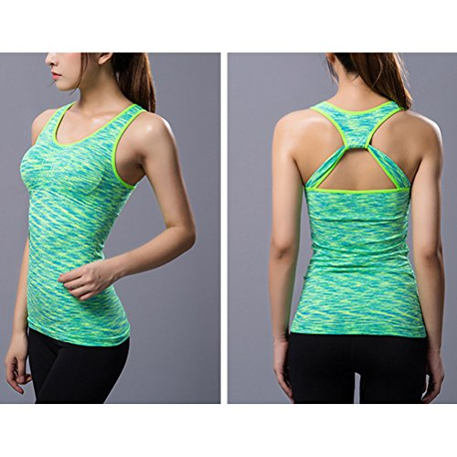 Zhhlaixing Women Running Vest Top, Seamless Sports Tank Top Quick Dry Vest Top With Support Removable Built-Free Bra Fluorescent Green