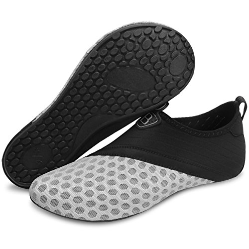 Barerun Barefoot Quick-Dry Water Sports Shoes Aqua Socks for Swim Beach Pool Surf Yoga for Women Men Black Grey