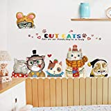 lovely nba wall decals Bestnify Lovely Cats Animals Nursery Wall Sticker Decals for Boys & Girls