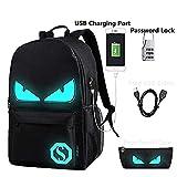 Lmeison Anime Luminous Backpack Daypack Shoulder School Bag Laptop Bag with USB Charger Port and Lock & Pencil Case, Unisex Fashion Rucksack Laptop Travel Bag College Bookbag, Black