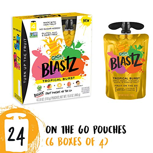 GoGo squeeZ BlastZ Fruit Pouches on the Go, Tropical Burst, 3.88 Ounce (24 Pouches), Gluten Free, Vegan Friendly, Healthy Snacks, Unsweetened, Recloseable, BPA Free - Sauce Mango Apple