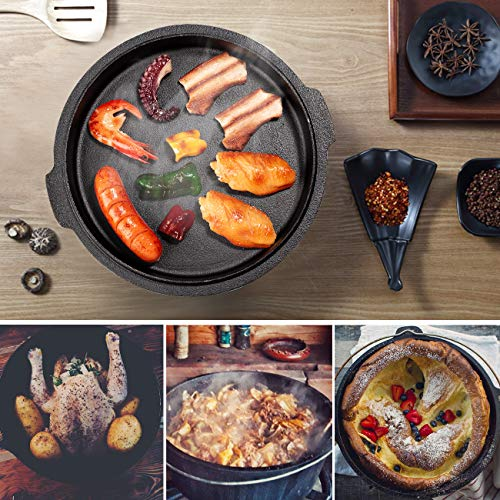 Overmont 9 Quart All-Round Dutch Oven【Dual Function : Lid Skillet】【with Lid Lifter】【Pre Seasoned】 Cast Iron Dutch Oven for Camping Cooking BBQ Baking by Overmont (Image #3)