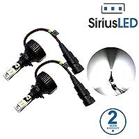 SiriusLED MX 8000 Lumen ZES Chip Extremely Bright LED Headlight Fog Lamp Conversion Kit Pure White 6500K Size 9006 Set of 2