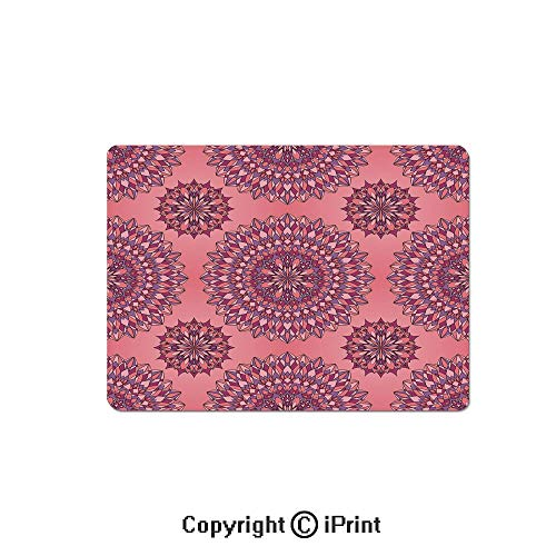 Thick 3mm Gaming Mouse Pad Ancient Filigree Art Inspired Ethnic Bohemian Kitsch Oriental Display Personality Design Non Slip Rubber Mouse Mat,7.1x8.7 inch,Coral Fuchsia ()