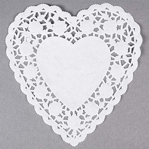 6 Inch Heart Shaped White Lace Paper Doilies 100 Count