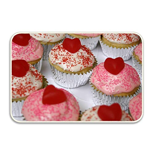 Jugbasee Welcome Doormat - Cupcakes Frosting Fudge Heart, Non-Slip, Durable, Made Using Rubber Non Slip Front Porch Decor