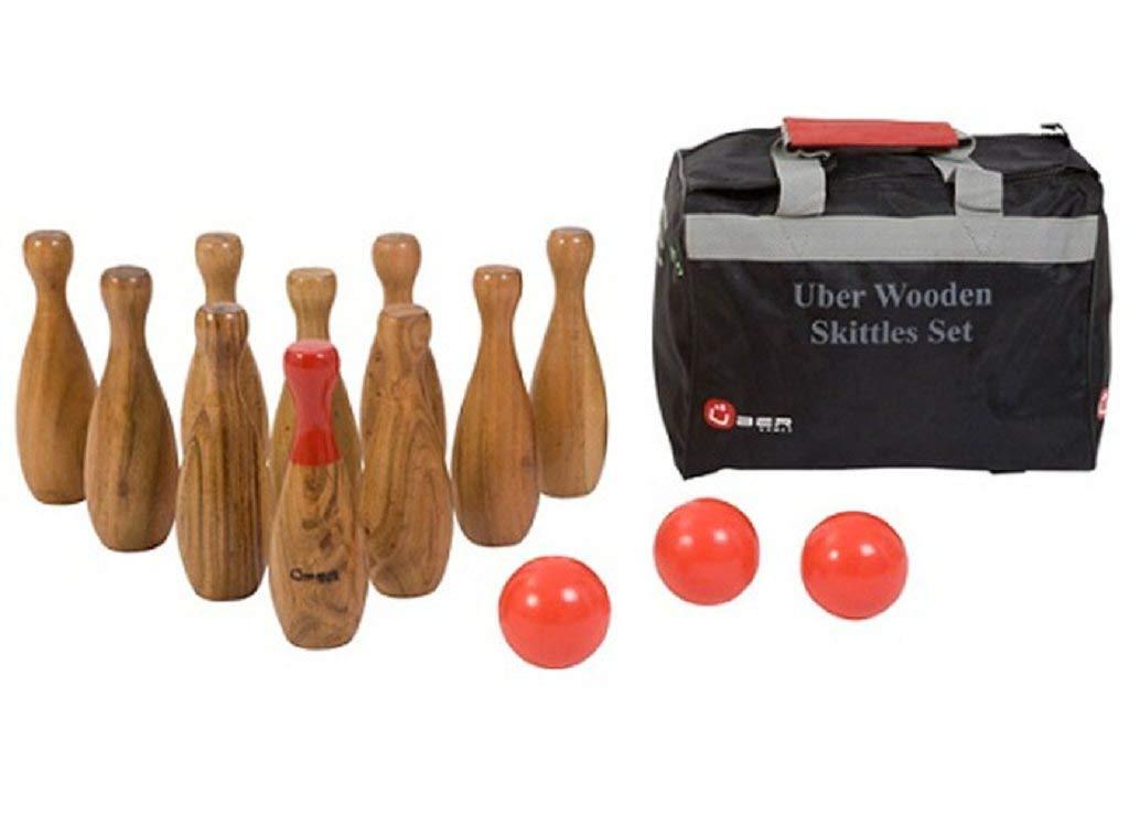 Woodbowl - das Holzbowling / Kegelspiel aus hochwertigem indischen Holz mit Bag