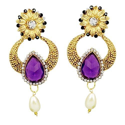 Indian Earrings Designer (Bollywood Inspired Designer Handcrafted Indian Drop Dangler Earrings - Purple)