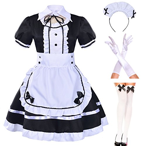 Japanese Anime Sissy Maid Dress Cosplay Sweet Classic Lolita Fancy Apron Maid Dress with Socks Gloves Set (Black)(L = Asia XL)(NY01)