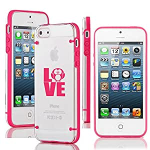 Apple iPhone 5 5s Ultra Thin Transparent Clear Hard TPU Case Cover Love Owl (Hot Pink)