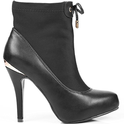 Ideal Shoes Stiefelette Bi-Material mit Teil Elastisch und Platte métalisée Hinten Nadina Schwarz