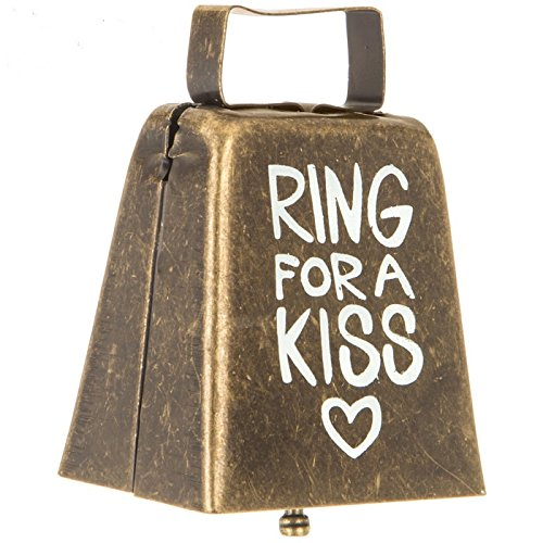 (Ring For A Kiss Metal Cowbell Wedding Reception Gift Keepsake )