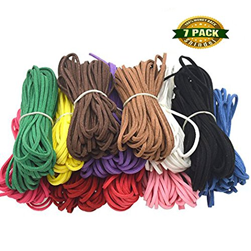 Shindel Faux Suede Micro-Fiber Flat Leather Lace Beading Thread Craft Thread String ( Mix 7 Colors Each 10 Yards)