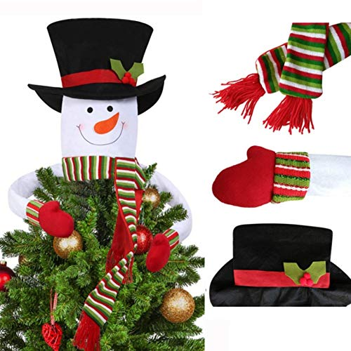 Stock Show Mr Snowman Christmas Tree Topper Snowman Hat Scarf Hugger Xmas Christmas Tree Decoration for Home Store Ornament Holiday Winter Wonderland Party ()