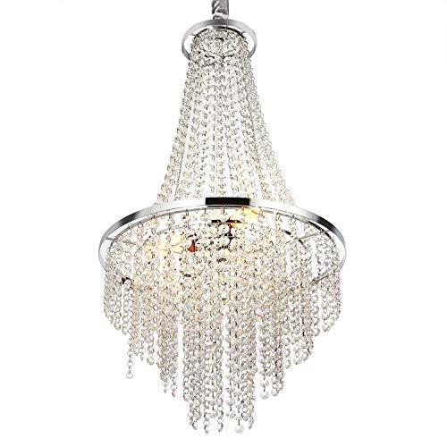 Luxurious Crystal Chandelier with Octagon Shape Crystal Lighting Fixture Pendant Lamp for Dining Room Bathroom Bedroom Living-Room 3 E26 LED Bulbs (Clear/Chrome)