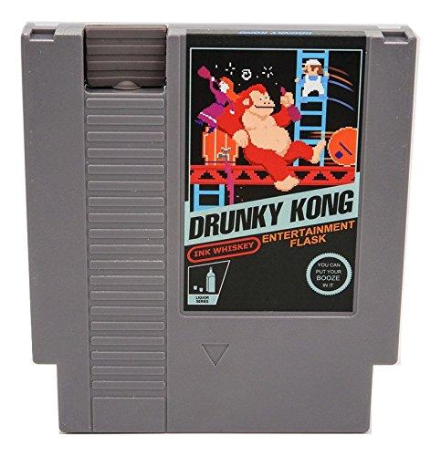 Concealable NES Entertainment Flask – Looks like a Retro Nintendo Video Game Cartridge – buts it's a flask with a Hilarious Label (Drunky Kong - Donky Kong)