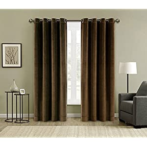 FirstHomer Window Treatments Solid Matt Heavy Velvet Curtain Drape Panel Blackout Super Soft Handfeel Luxury Nickle Grommet Java 50W By 63L Inch (Set of 2 Panels)For Bedroom| Living Room