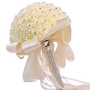Vipe Handmade Crystal Bridal Wedding Bouquet Silk Flower Bridesmaid Foam Brooch 27