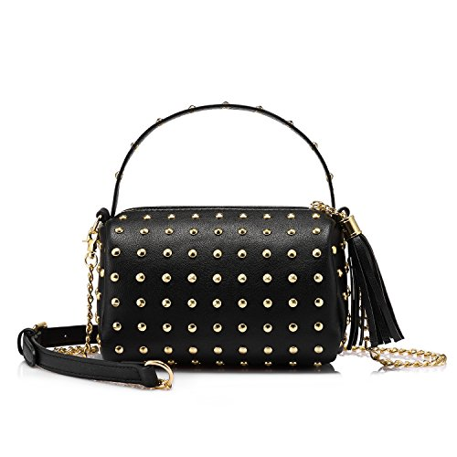 Black Leather Bag Gold Chain - 4