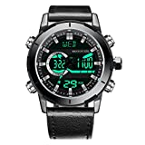 Menton Ezil Mens Sport Watch Digital Analog Waterproof Multifunctional Military Leather Strap Wrist Watches