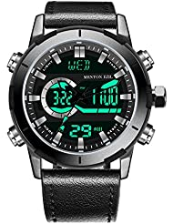 Menton Ezil Mens Sport Watch Big Face Digital Analog Dual Time Display with Waterproof EL Backlight Multifunctional...