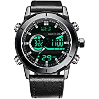 Menton Ezil Men's Sports Watch Sapphire Big Face Analog Digital Dual Time Waterproof EL Backlight, Multifunctional Outdoor Military Wrist Watches with Leather Strap … (Black)