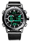 Buy One Get One Menton Ezil Men's Sport Watch Digital Analog Waterproof Multifunctional Military Leather Strap Wrist Watches