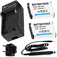 Battery (2-Pack) + Charger for Sony HDR-CX240, HDR-CX405, HDR-CX440 Handycam Camcorder
