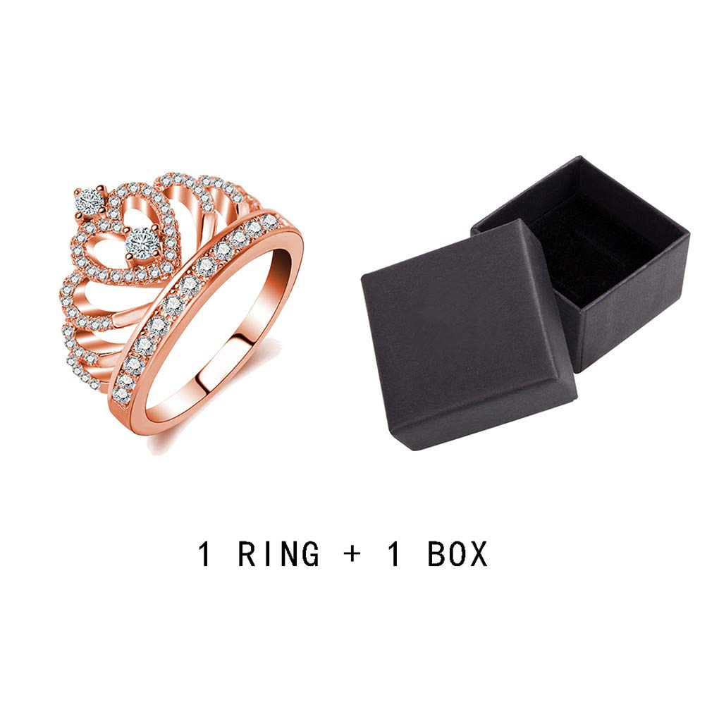 Ferusshomic Princess Style Hollow Heart Silver//Rose Gold Color Crown Ring Engagement Wedding Party g with Box 5