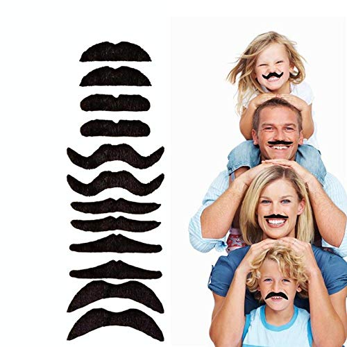 12pcs/set Party Halloween Christmas Fake Mustache Funny Fake Beard Whisker for Your Birthday - Novelty and Toy, for Halloween, Parties, Kids, Gift, Favors, Fun, Birthday, Fiesta, Games, Home -