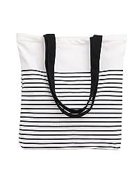 Nuni Black Stripe Pattern Canvas Tote Bag Shoulderbag White