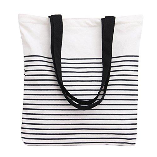 - Nuni Black Stripe Pattern Canvas Tote Bag Shoulderbag White (Black Handles)
