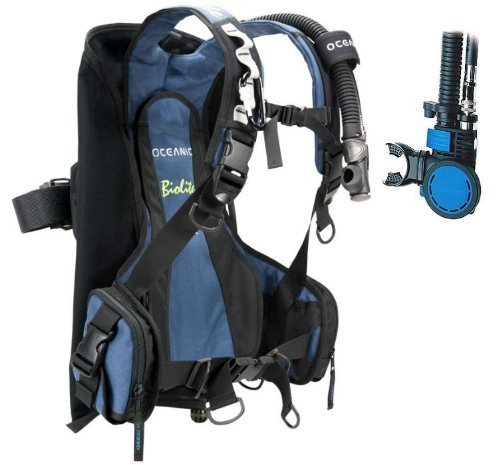 New Oceanic BioLite Travel Scuba Diving BCD with Air XS 2 Alternate Air Inflator Regulator Installed on BCD - Blue (Size Medium)