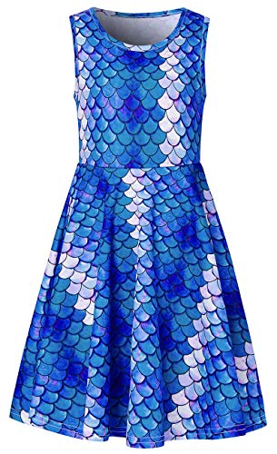 Mermaid Dress for Teen Girls Size 10-13t Cute Navy Pink Fish Flakes Youth Big Students Children's Fashion Modest Sleeveless Pink Blue Princess Frock Dress Up Clothes Fantastic in Summer Prom Outfits