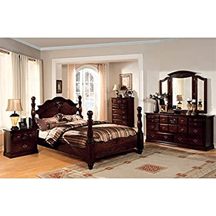 Amazon.com: Furniture of America Cathie 4 Piece Queen Bedroom Set ...