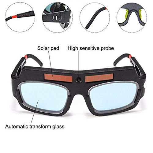 1 Pair Black Solar Auto Darkening Welding Goggle Safety Protective Welding Glasses Mask Helmet, Eyes Goggles Mask Anti-Flog Anti-glare Goggles by Yarr Store (Image #2)