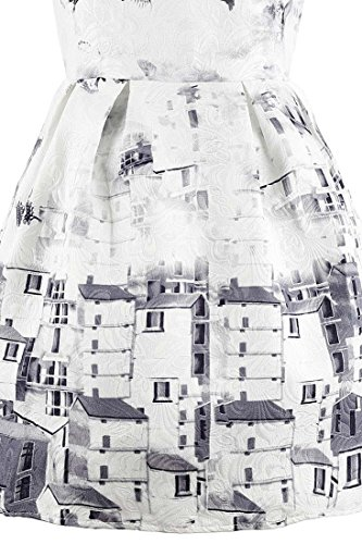 bianco a trapezio Achicigirl grigio stampa Vintage Butterfly abito e ZOO8yUF4