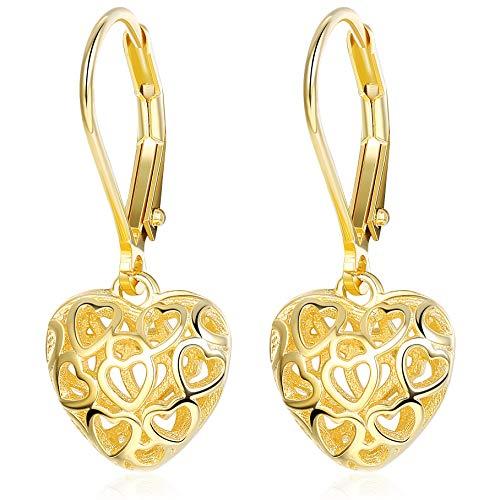 Sllaiss Heart Earrings Hollow Shaped S925 Sterling Silver Leverback Earrings for Women Girls Dangle Drop Earrings Gold - Gold Drop Heart