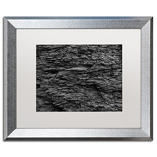 Shale Abstract in Black and White by Kurt Shaffer, White Matte, Silver Frame - Shales Face