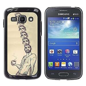 "For Samsung Galaxy Ace 3 Case , Retrato Café Sin camisa hombre Barba caliente"" - Diseño Patrón Teléfono Caso Cubierta Case Bumper Duro Protección Case Cover Funda"