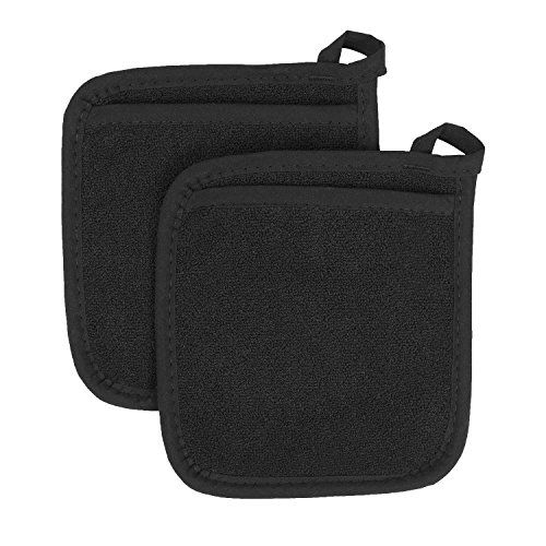 Ritz Royale Collection 100% Cotton Terry Cloth Pocket Mitt Set, Dual-Function Hot Pad / Pot Holder, 2-Piece, Black