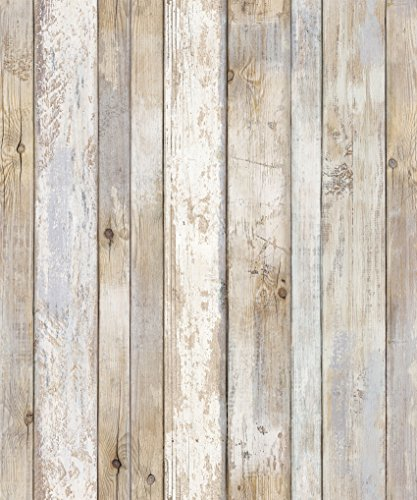 Reclaimed Wood Distressed Wood Panel Wood Grain Self-Adhesive Peel-Stick Wallpaper (VBS308)