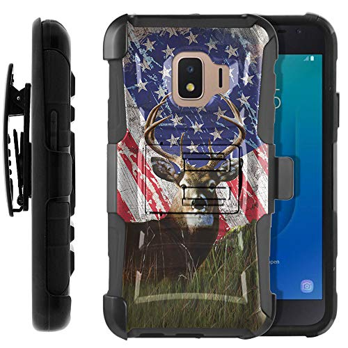 FINCIBO Case Compatible with Samsung Galaxy J2 Core J260 2018, Dual Layer Hybrid Curve Rigid Armor Protector Cover Kickstand TPU Holster for Galaxy J2 Core (NOT FIT J2) - Vintage American Flag Deer