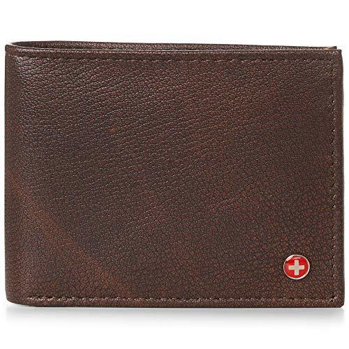 (Alpine Swiss Mens Genuine Leather Wallet Slim Flip-out Bifold Antique)