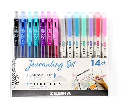 Set de diario de bolígrafo Zebra 7resaltadores/7 boligrafos