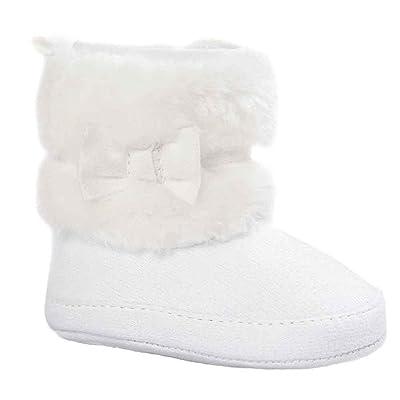 Ouneed® 0-18 mois Bebe Coton Boots Haut Premier Pas en l'hiver (11, Blanc)