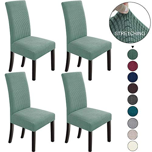 NORTHERN BROTHERS Dining Chair Covers Stretch Chair Covers Parsons Chair Slipcover Chair Covers for Dining Room Set of 4,Dark Cyan